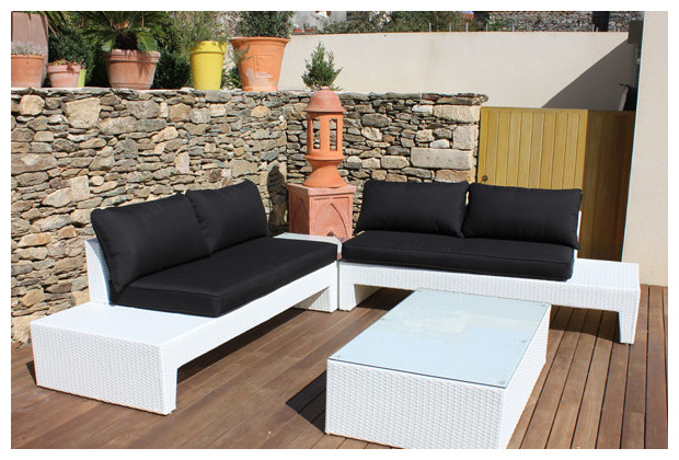 salon de jardin en r sine blanche hawa 4 places jardin. Black Bedroom Furniture Sets. Home Design Ideas