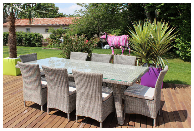 Keywest ensemble compos d 39 une table et 8 chaises en for Table et chaise de jardin resine tressee