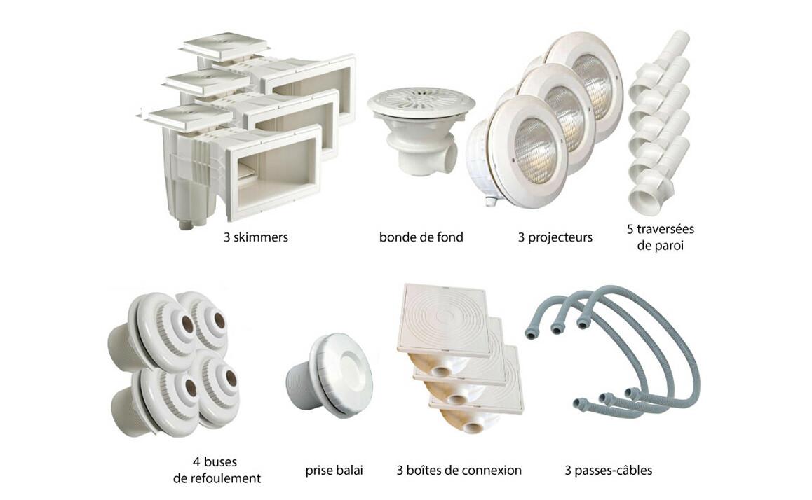 kit de pièces à sceller blanches numéro 3 pour piscine liner