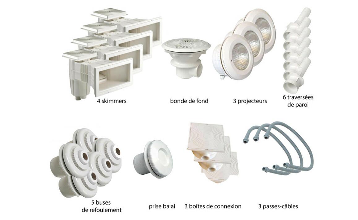 kit de pièces à sceller blanches numéro 4 pour piscine liner