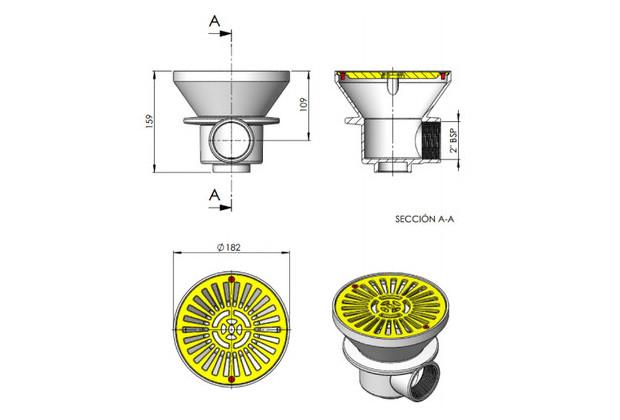pieces a sceller piscine beton Astral - dimensions bonde de fond