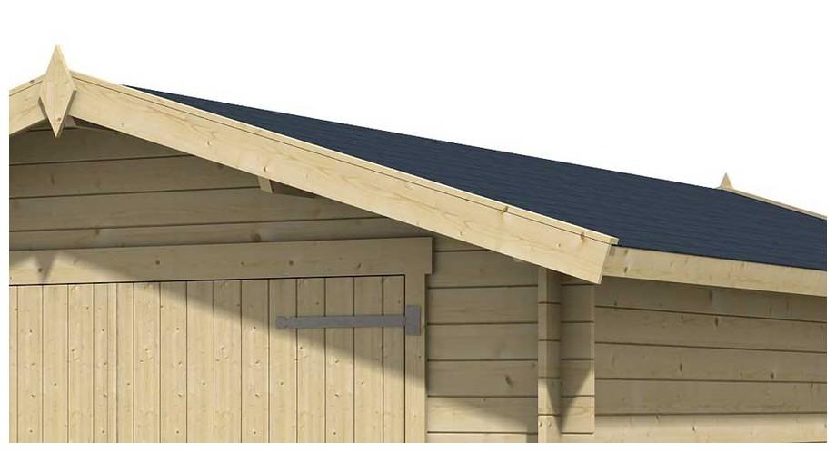 détail de la toiture du garage en bois Mauritius Lasita Maja en situation