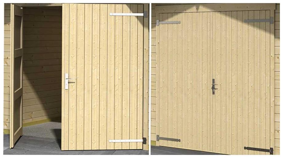 détail de la porte du garage en bois Mauritius Lasita Maja en situation