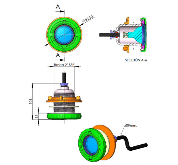 projecteur mini  pour piscines ABS dimensions