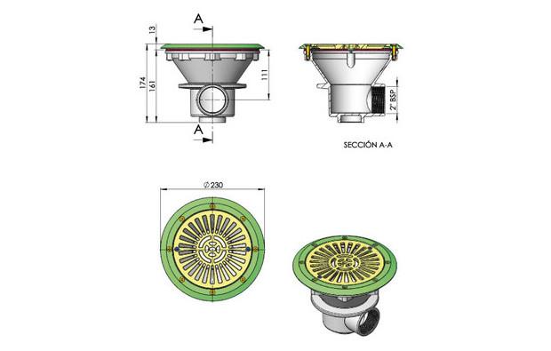 Bonde de fond blanche Ø 210 mm pour piscines liner - dimensions