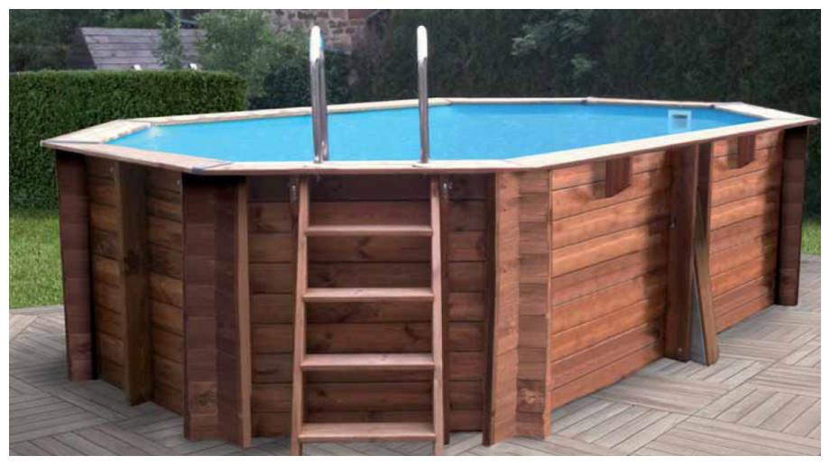 Woodfirst Original Octogonale Allongée 436 x 336 x 120 - le kit piscine bois le mieux équipé !