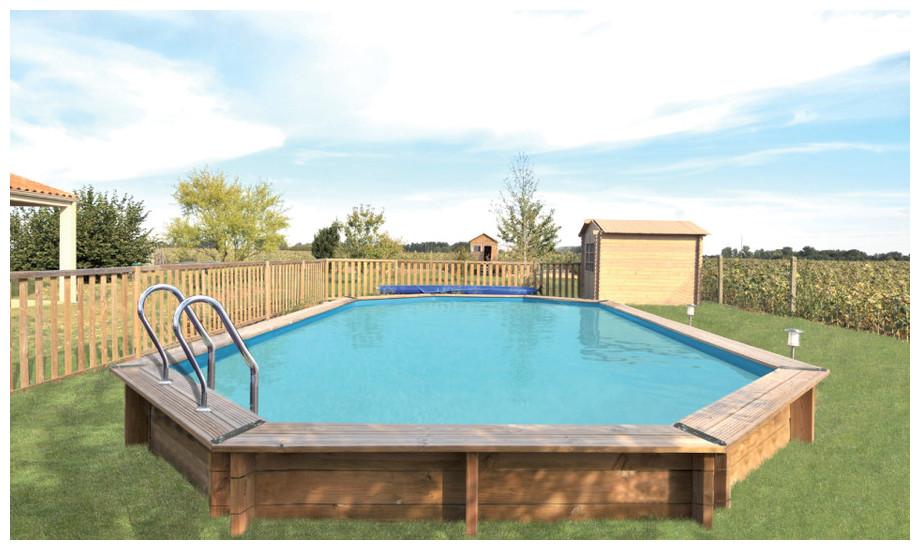 piscine de bois en kit a monter soi-même woodfirst origina 436 x 336 x 120 -  mise en situation