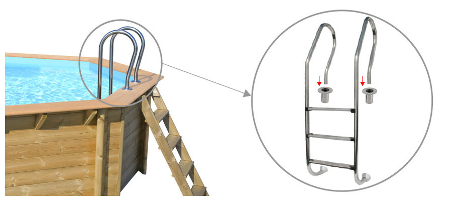Woodfirst original kit octo allong 551x351 h 120 cm - Piscine inox sans liner ...