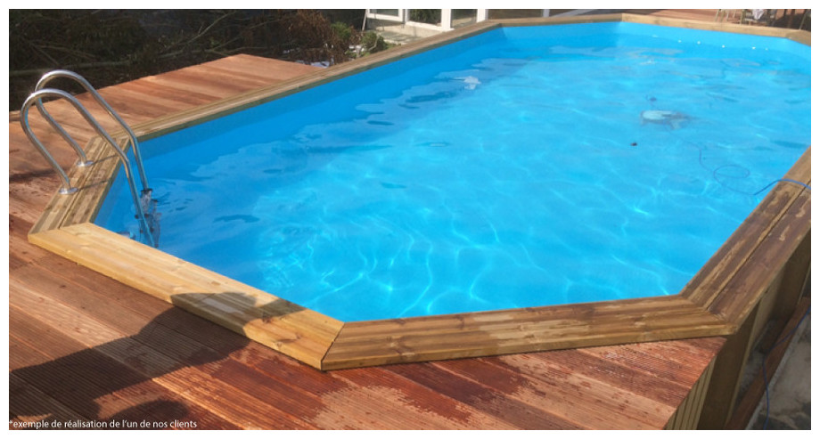 Woodfirst original kit octo allong 551x351 h 120 cm for Liner piscine hexagonale bois