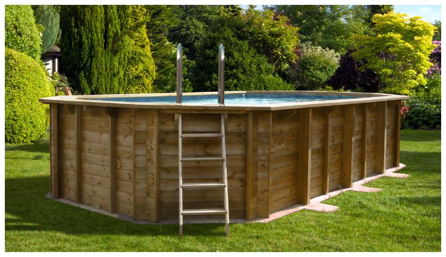 Woodfirst Original Octogonale Allongée 672 x 472 x 146 - La piscine octogonale allongée en kit complet