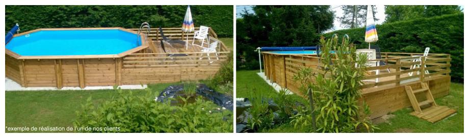 Woodfirst Original Octogonale Allongée 872 x 472 x 146 cm - Le kit piscine tout compris