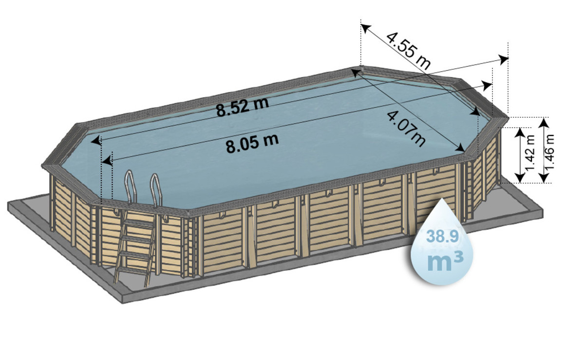 Dimensions de la piscine bois woodfirst original octogonale