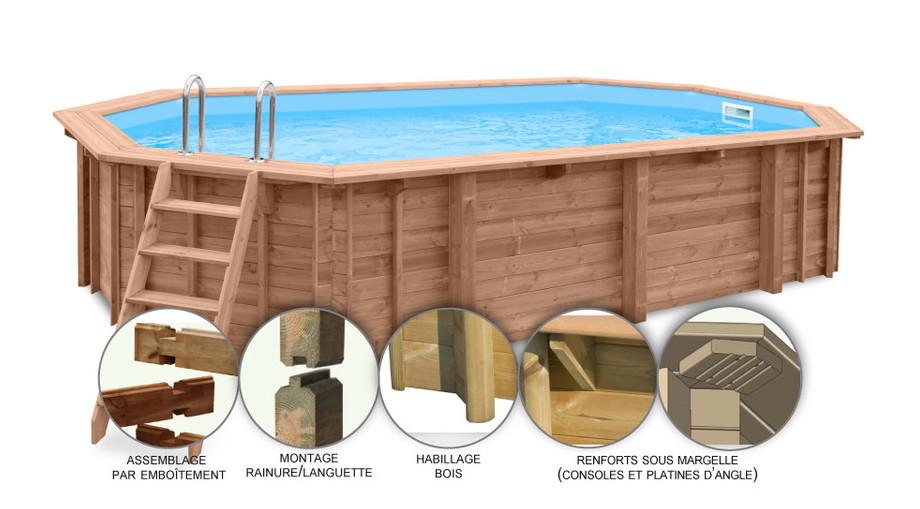 Woodfirst Original Octogonale Allongée 942 x 592 x 146 cm - Le kit piscine tout compris