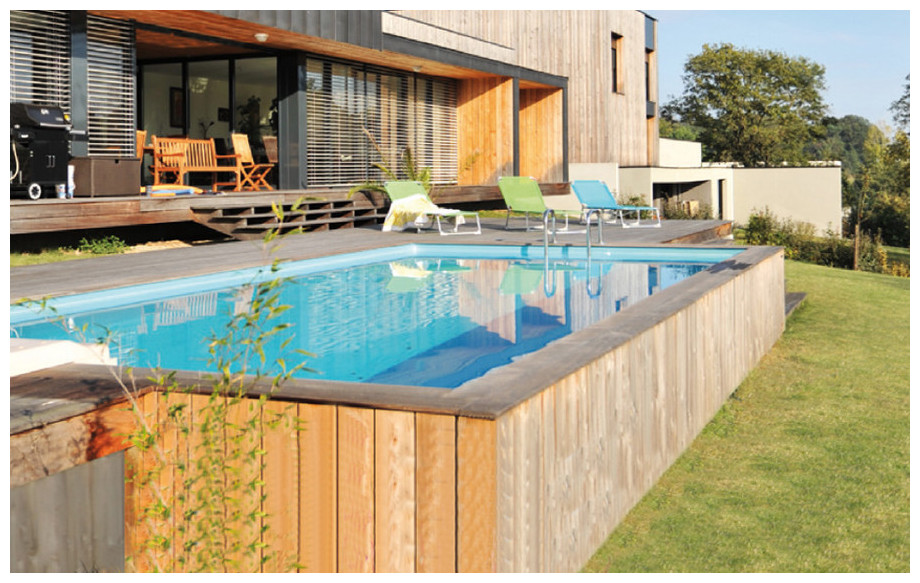 piscine bois rectangulaire Woodfirst Original 800x400x146cm ambiance