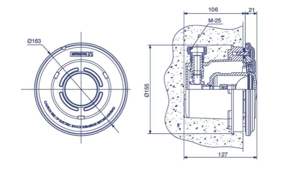 Projecteur plastique MINI avec niche - piscine béton