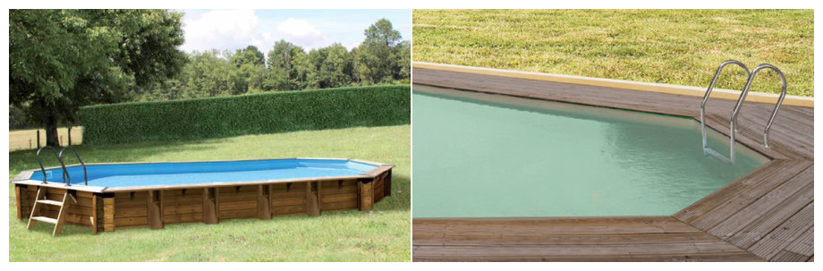 piscine bois Woodfirst Original octo Allongée enterree