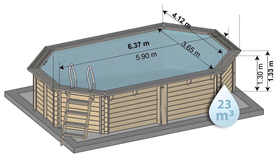 piscine kit bois 634 x 412 hauteur 133 - schema dimensions