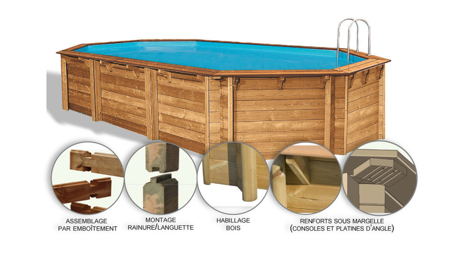 Woodfirst Original Octogonale Allongée 637 x 412 x 133 - Kit piscine suréquipé