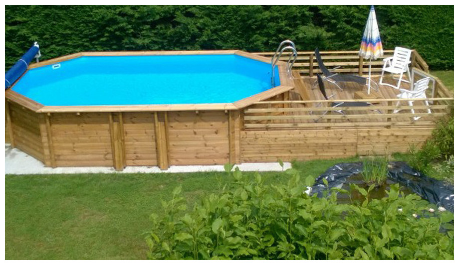 Woodfirst original kit complet octo allong piscine bois for Piscine hexagonale bois