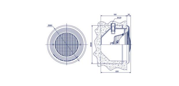 projecteur piscine beton liner - schema installation