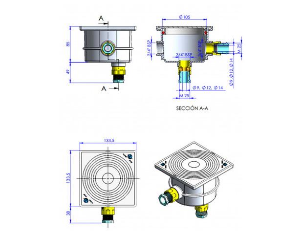 pieces a sceller piscine - boite de connexion - dimensions