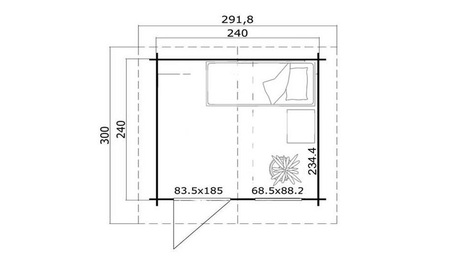 plan de l'abri de jardin en bois Cyprus 1b en situation