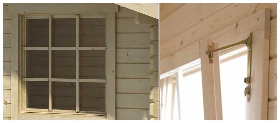 détail de la fenêtre de l'abri de jardin Cyprus 1B Lasita Maya en situation