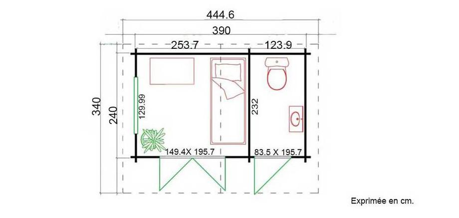 plan de l'abri de jardin en bois Borkum 1 Lasita Maja en situation