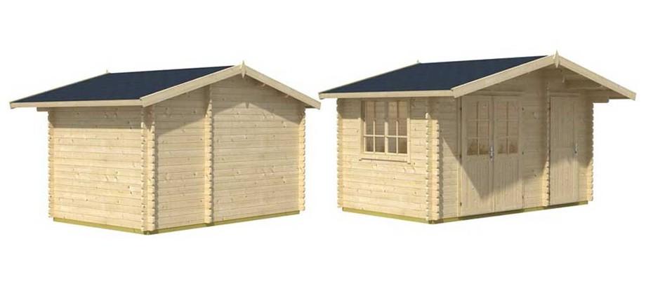 Détail des matériaux de l'abri de jardin en bois Borkum 1 Lasita Maja en situation