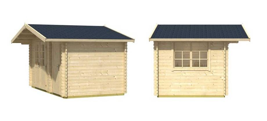 Détail de la toiture de l abri de jardin en bois Borkum 1 Lasita Maja en situation