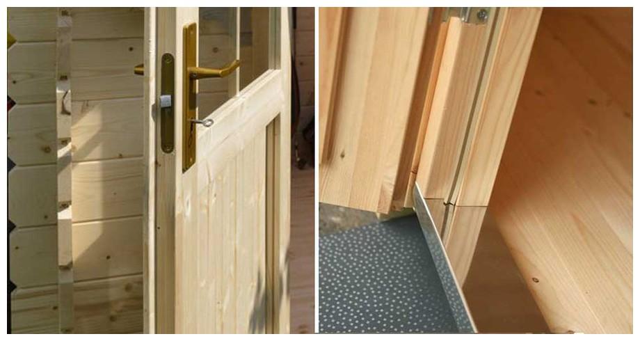 détail de la porte de l'abri de jardin en bois Borkum 1 Lasitamaya en situation