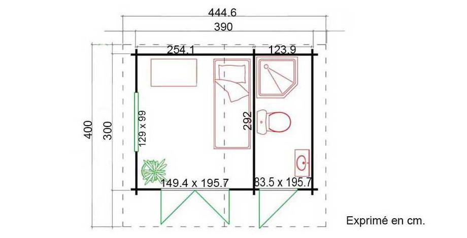 plan de l'abri de jardin en bois Borkum 2 Lasita Maja en situation