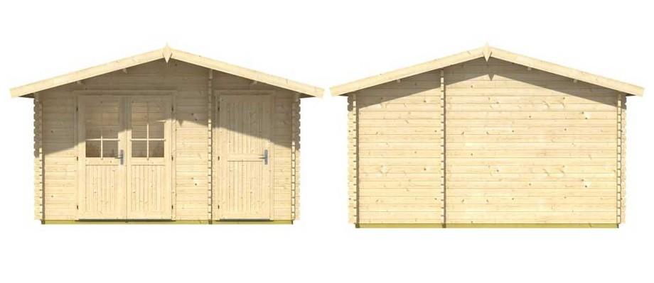 Détail des matériaux de l'abri de jardin en bois Borkum 2 Lasita Maja en situation