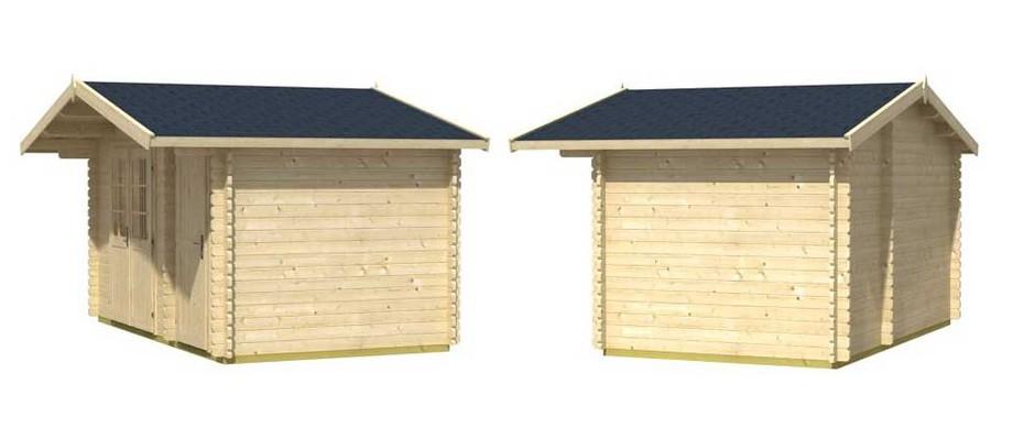 Détail de la toiture de l abri de jardin en bois Borkum 2 Lasita Maja en situation