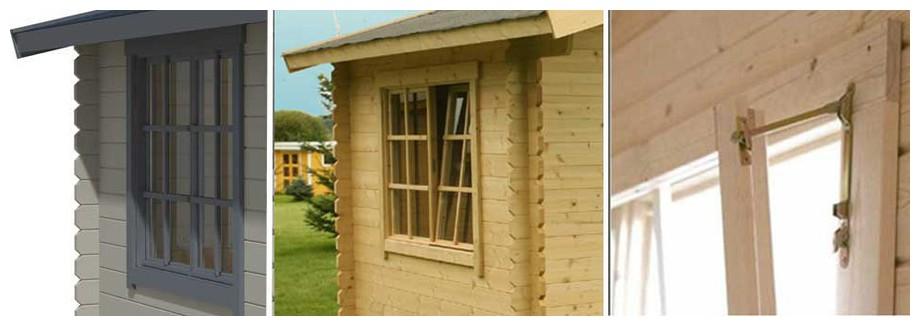 détail de la fenêtre de l'abri de jardin Borkum 2 Lasita Maja en situation