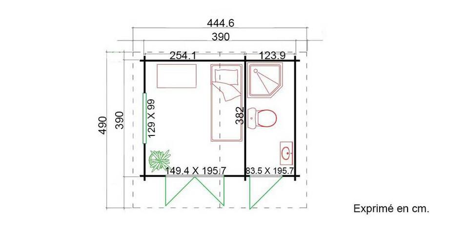plan de l'abri de jardin en bois Borkum 5 Lasita Maja en situation