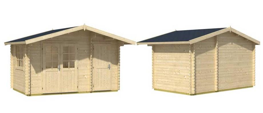 Détail des matériaux de l'abri de jardin en bois Borkum 5 Lasita Maja en situation