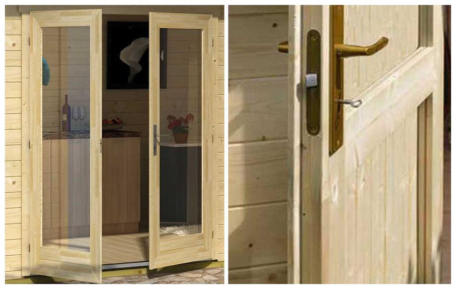 détail de la porte de l'abri de jardin contemporain en bois fiji Lasitamaya en situation