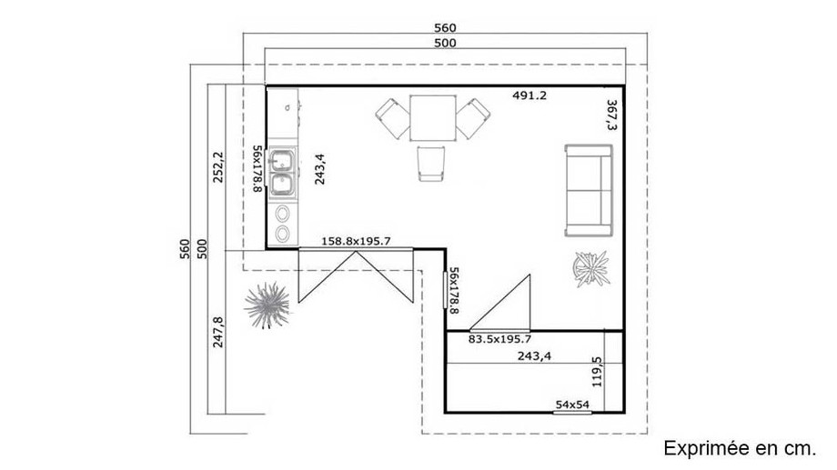 plan de l'abri de jardin contemporain en bois Fiji Lasita Maja en situation