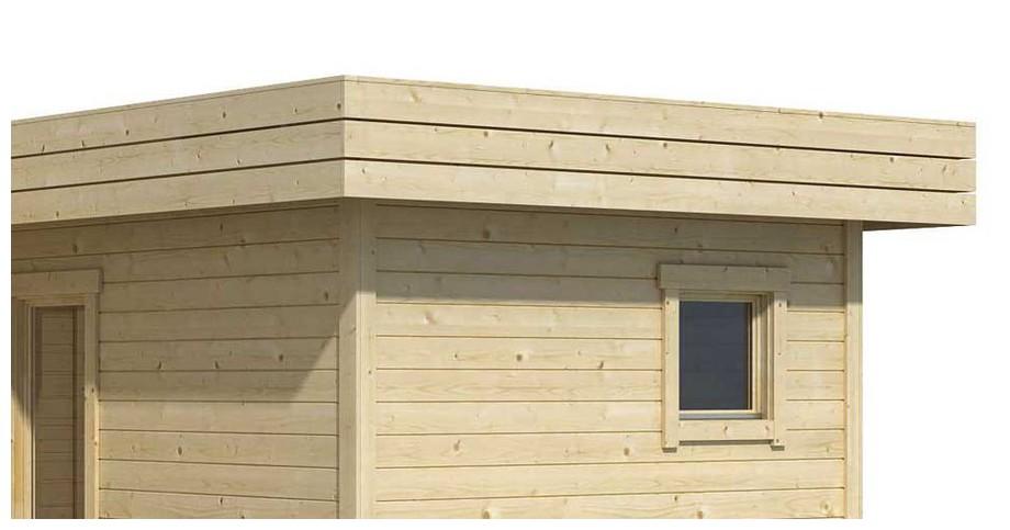 Détail de la toiture de l abri de jardin contemporain en bois Fiji  Lasita Maja en situation