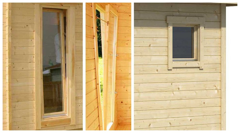 détail de la fenêtre de l'abri de jardin contemporain en bois Fiji Lasita Maja en situation