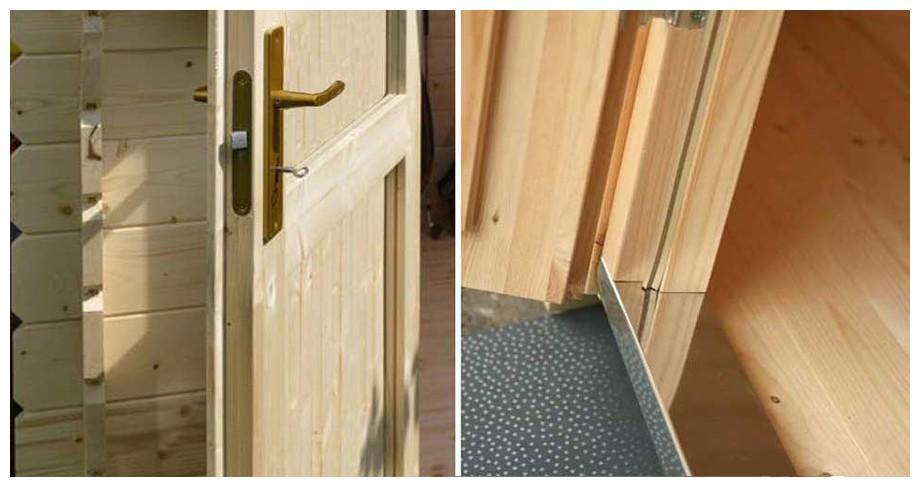 détail de la porte de l'abri de jardin en bois Corsica 44 Lasitamaya en situation