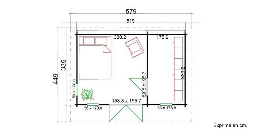 plan de l'abri de jardin contemporain en bois Barbados 1 Lasita Maja en situation