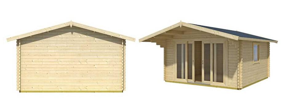Détail des matériaux de l'abri de jardin en bois Gotland 5 H Lasita Maja en situation