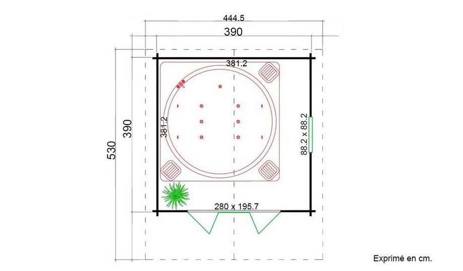 plan de l'abri de jardin en bois Gotland 5 H Lasita Maja en situation