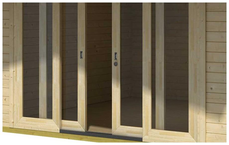 détail de la porte de l'abri de jardin en bois Gotland 5 H Lasitamaya en situation