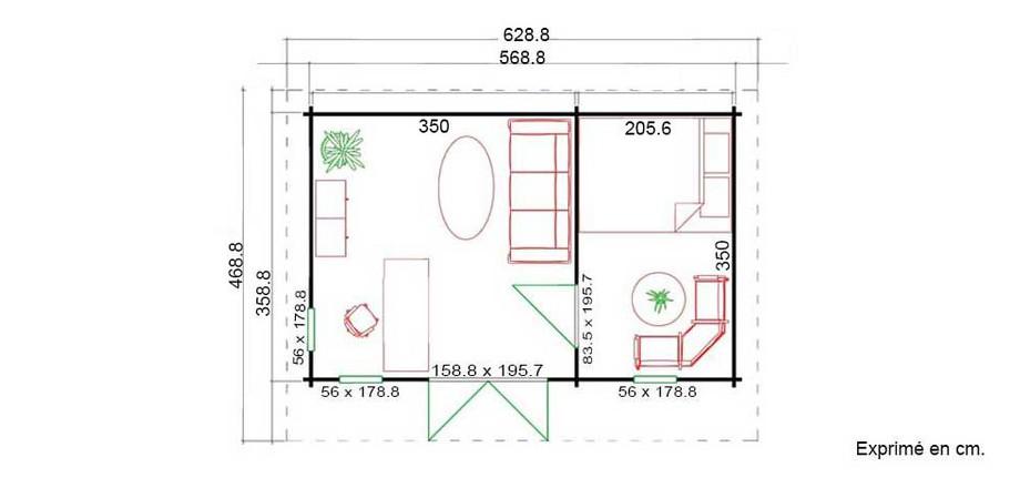 plan de l'abri de jardin contemporain en bois Barbados 4 Lasita Maja en situation