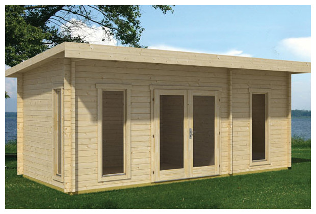 Abri contemporain en bois cloison interne avec porte for Truffaut abri de jardin
