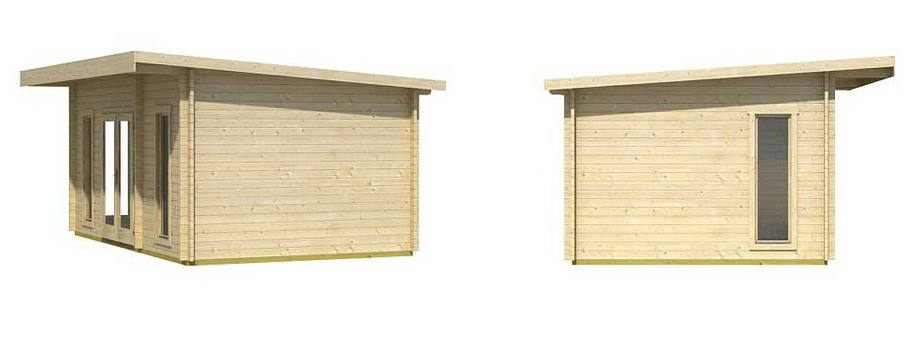 détail de la toiture de l'abri de jardin contemporain en bois Barbados 4 Lasita Maja en situation