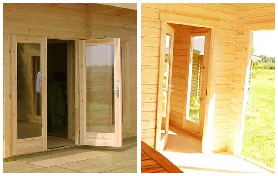 détail de la porte de l'abri de jardin contemporain en bois Barbados 4 Lasitamaya en situation
